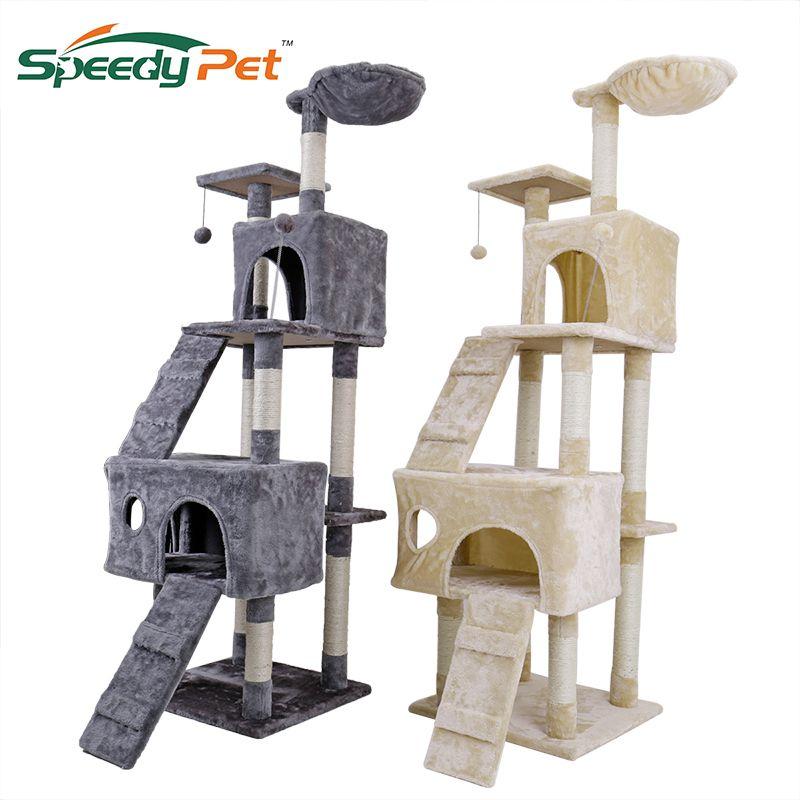 Domestic Lieferung 175 cm Katze kratzen Post Mit Jump Lladder Haus Katze Baum Pet Möbel Holz Baum Spielzeug Pet Liefert