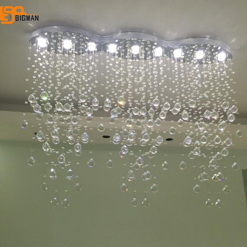 new modern crystal chandeliers lighting fixtures living room oval lamparas colgantes de cristal LED light length 120cm