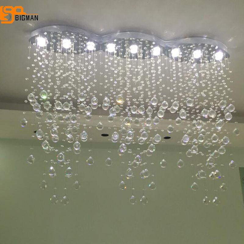 new modern crystal chandeliers lighting fixtures living room oval lamparas colgantes de cristal LED light length 120cm