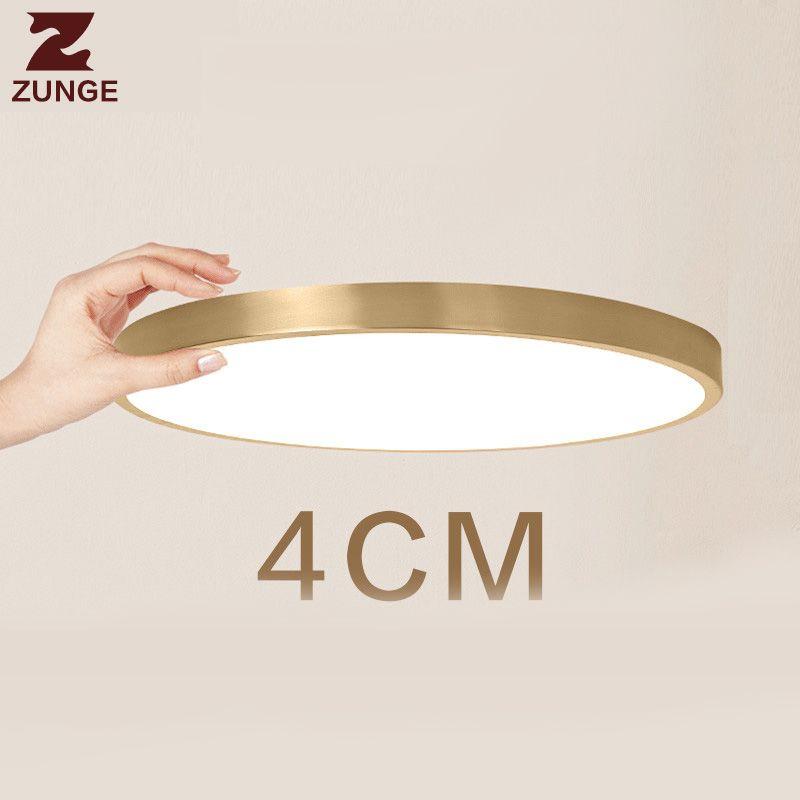 ZUNGE ultra-thin LED ceiling lamp copper bedroom lights night light abajur T102 lustre luminaria living room lamps