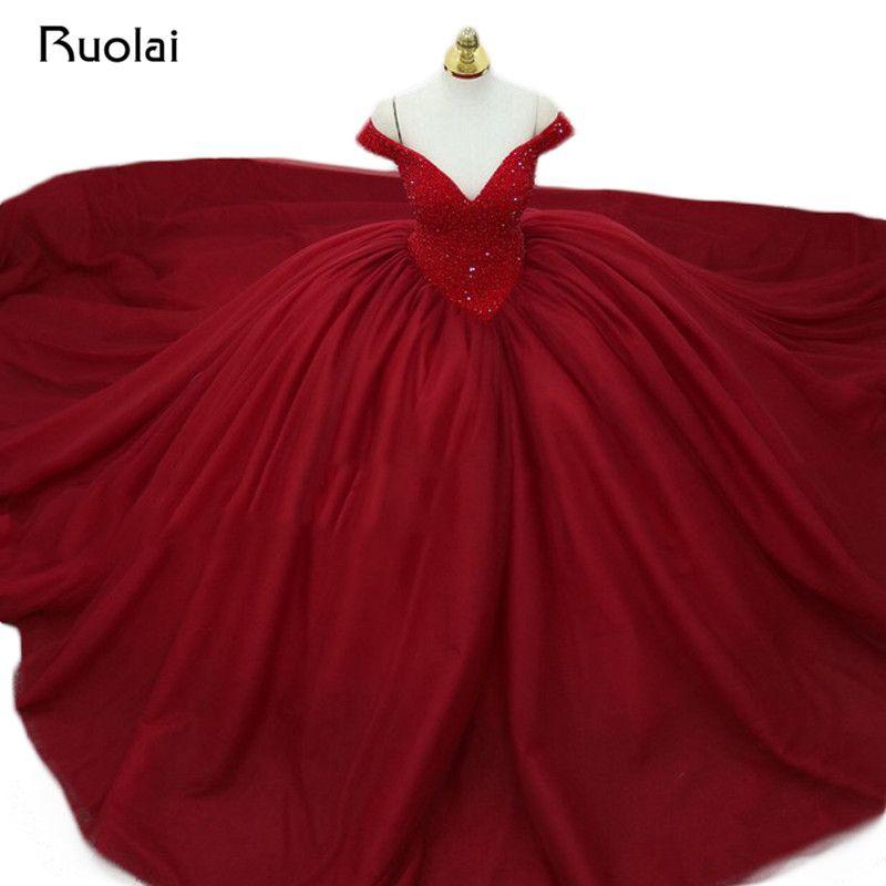 Wunderschöne Burgund Abendkleid Lange 2018 V-ausschnitt Perlen Prinzessin Ballkleid Abendkleid Abendkleid Vestido de Fiesta ASAE34