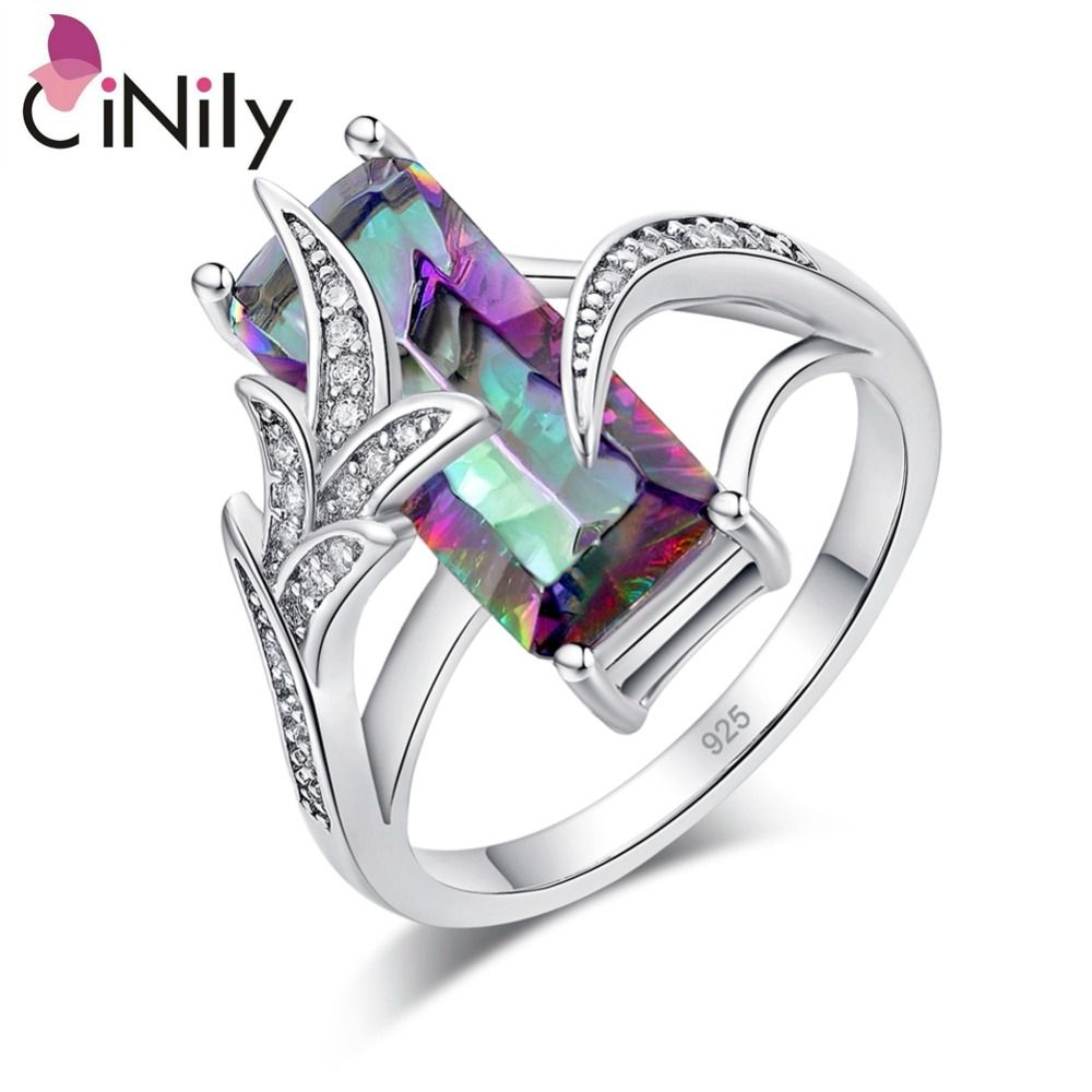 CiNily Rainbow Mystic Stone Lavish Large Square Rings Silver Plated CZ Crystal Bohemian Boho Vintage Party Jewelry Women Girls