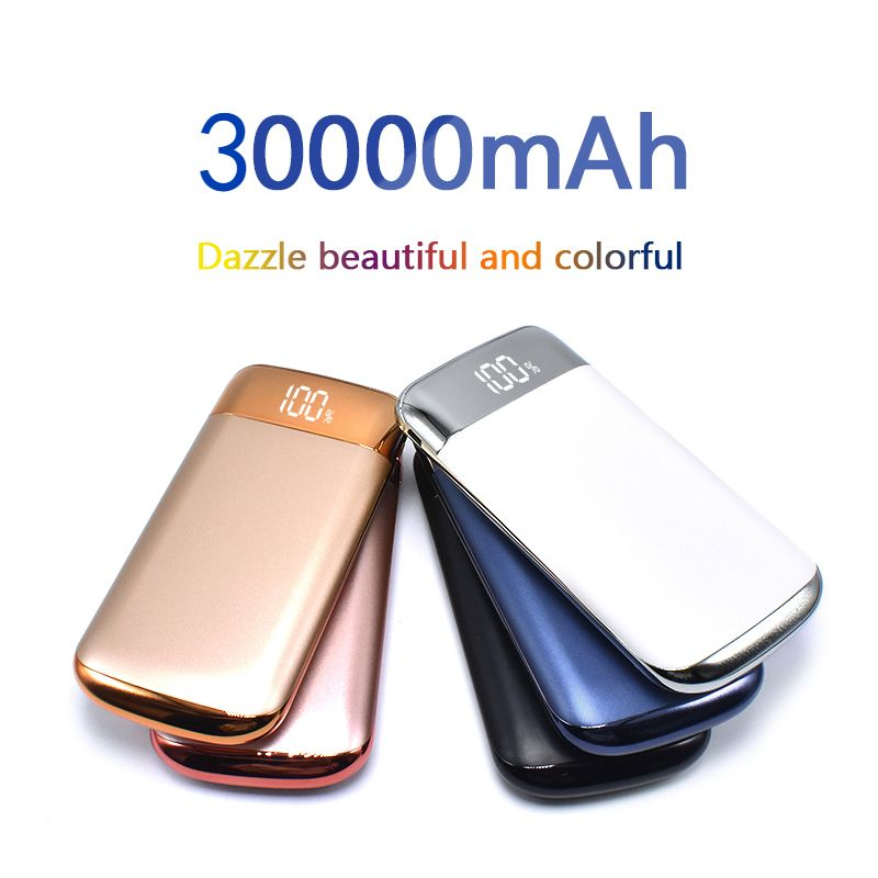 2018 Power Bank External Battery 30000mah Power Bank 2 USB LCD Powerbank Portable Mobile Phone Charger External Battery Pack