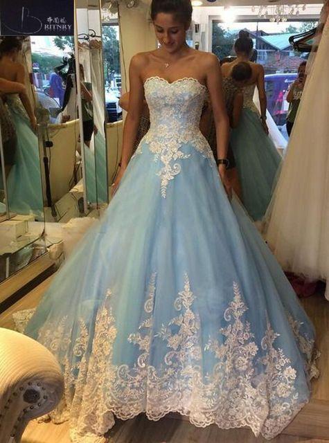 BRITNRY Sweetheart blue Wedding Dress Smiple Lace A Line Bridal Dresses Court Train Lace Up Back Plus Size Wedding Gowns