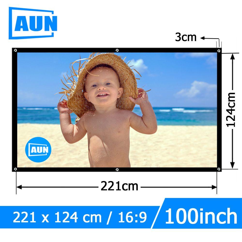 Аун 100 дюймов 16:9 Портативный проектор Экран белая ткань материал открытый тип поддержки t90s am01s светодиодный проектор домашнего кинотеатра ...