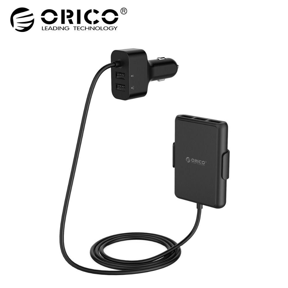 ORICO автомобиля Зарядное устройство 5 Порты QC3.0 USB Автомобильное Зарядное устройство Универсальный USB Быстрый адаптер 52 Вт для автомобиля MPV м...