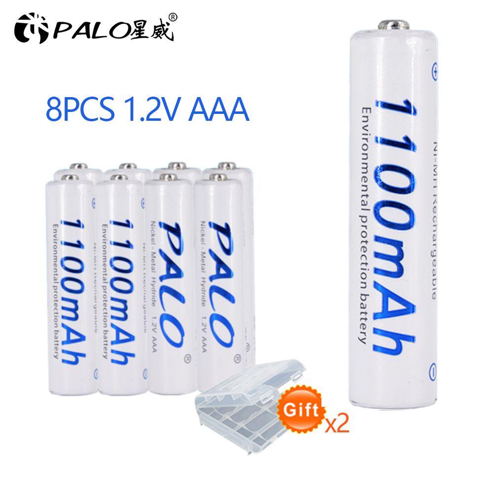 PALO 8 pièces aaa batterie rechargeable 1.2v 3a batterie pour télécommande voiture caméra rasoir téléphone lampes de poche