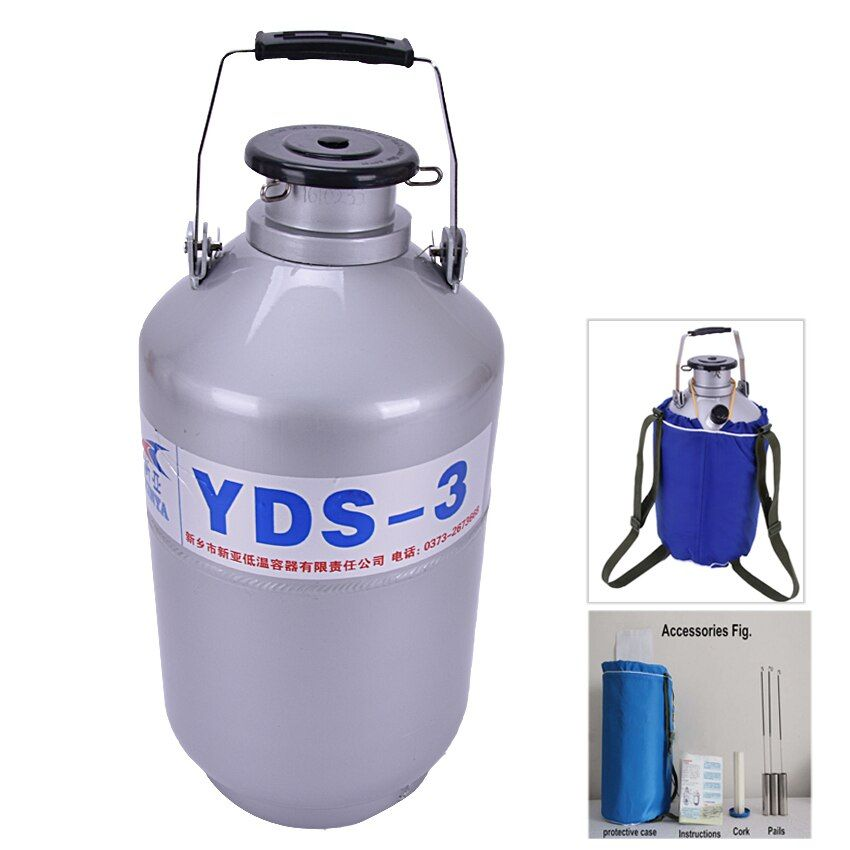 3L YDS-3 Caliber 50MM High Quality Nitrogen Container Tank Dewar with Straps Liquid Nitrogen Tank