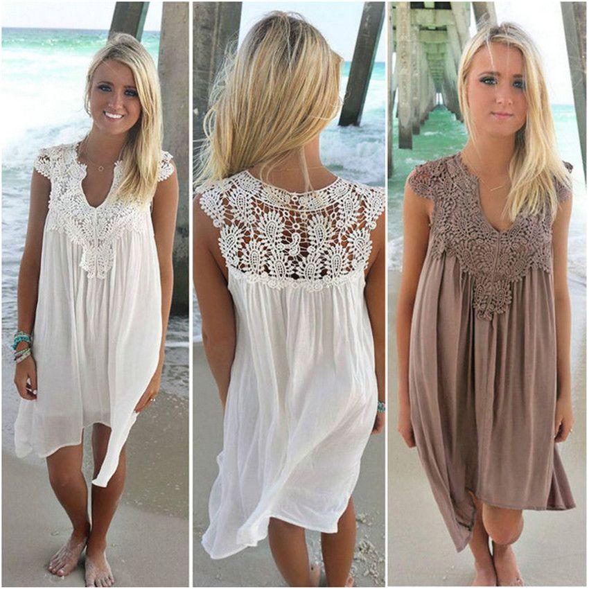 2019 Summer Women Dress Sleeveless Womens Loose Beach Lace Dress High Quality Dresses 8 color plus size casual mini Vestidos
