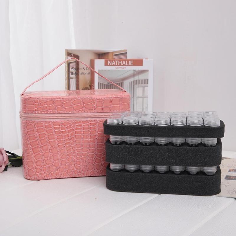 84 bouteilles en cuir PU diamant peinture charmes strass outil sac de rangement boîte organisateur perles diamant broderie boîte de rangement