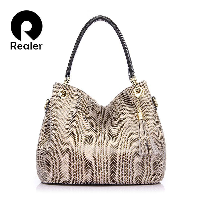 REALER brand handbag women <font><b>genuine</b></font> leather bag female hobos shoulder bags high quality leather tote bag