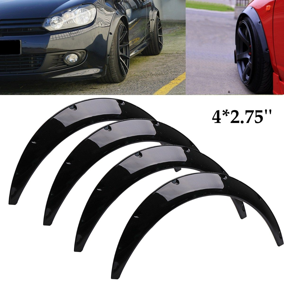 4Pcs 2.75 inch Universal Gloss Black Flexible Car Body For Fender Flares Extension Wide Wheel Arches