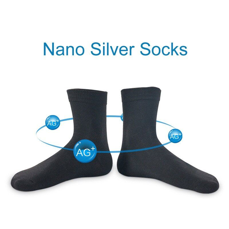 2017 Brand New 5 Pairs Nano Silver Cotton Socks Fashion Casual Anti-Bacterial Deodorant Summer Black White Blue Men's Socks D236