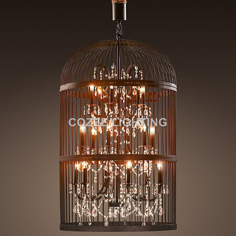 Modern Crystal Chandelier Hanging Lighting Birdcage Chandeliers Light for Living Room Bedroom Dining Room Restaurant Decoration
