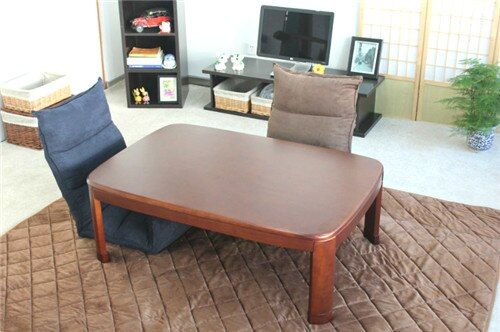 Japonais Kotatsu Table Rectangle 120 cm Coin Rond Couleur Noyer Meubles de Maison Salon Kotatsu Table Basse En Bois