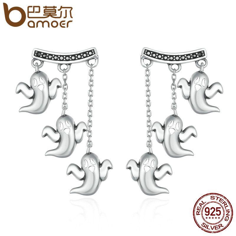 BAMOER 100% 925 Sterling Silver Unique Cute Halloween Ghost Drop Earrings for Women Vintage Jewelry Halloween Gift Bijoux SCE167
