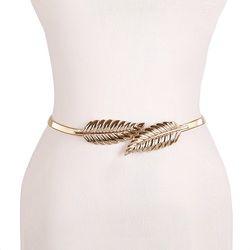 Flor hoja forma boda del diseñador cinturones elásticos mujeres girlStretch flaco de cintura Cummerbunds metal Correa femenina