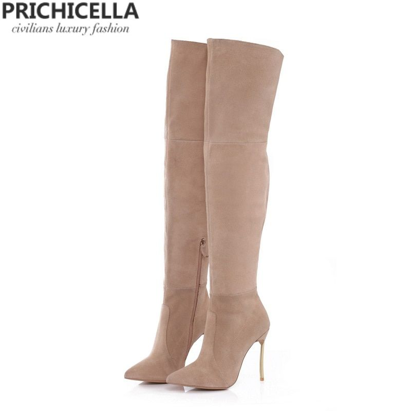 PRICHICELLA Iron heel genuine leather brown women thigh high boots high heeled tall gladiator booties size34-42