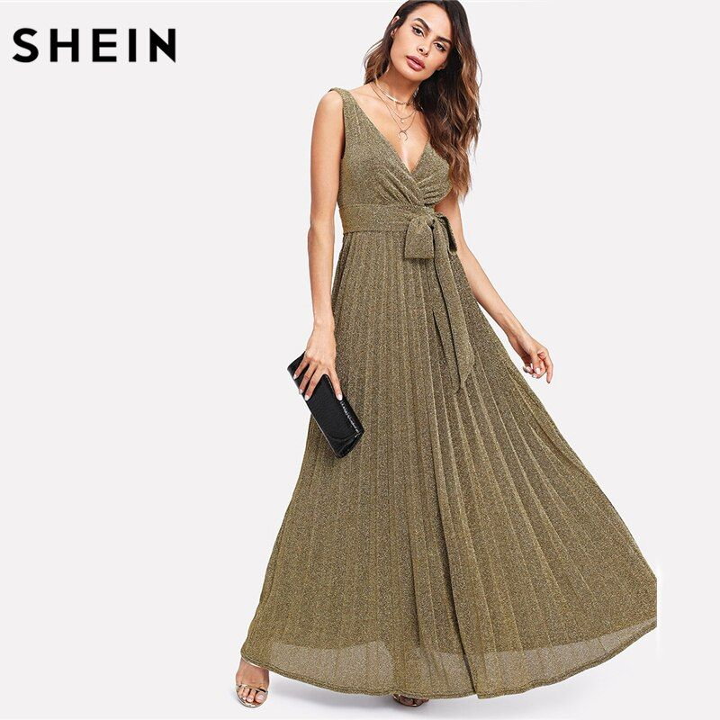 SHEIN Backless Party Maxi Dress Gold Deep V Neck Sleeveless A Line Dress Self Belted Glitter Pleated Surplice Dress