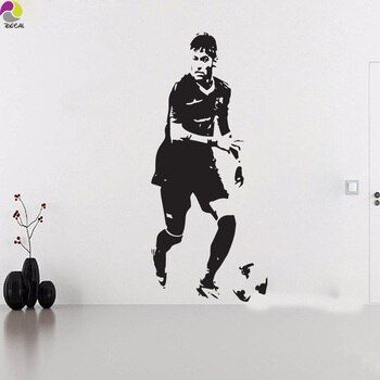 Neymar Da Silva Barcelona Wall Sticker Bedroom Boys Room Brazil Football Player  Soccer Athlete Wall Decal Vinyl