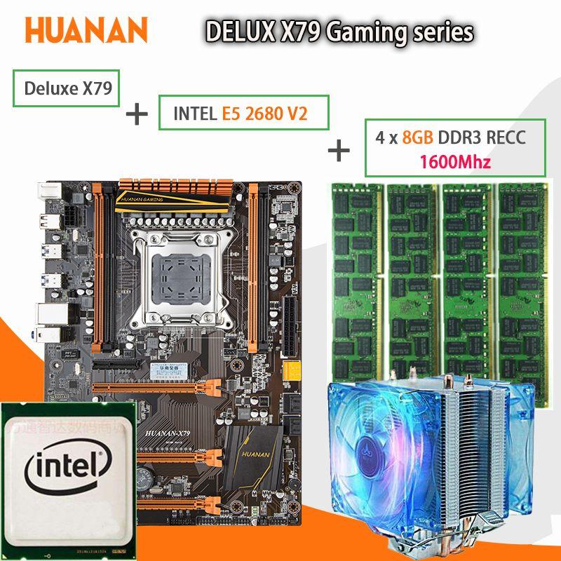 HUANAN golden Deluxe X79 gaming motherboard LGA 2011 ATX CPU E5 2680 V2 SR1A6 4 x 8G 1600Mhz 32GB DDR3 RECC Memory with cooler