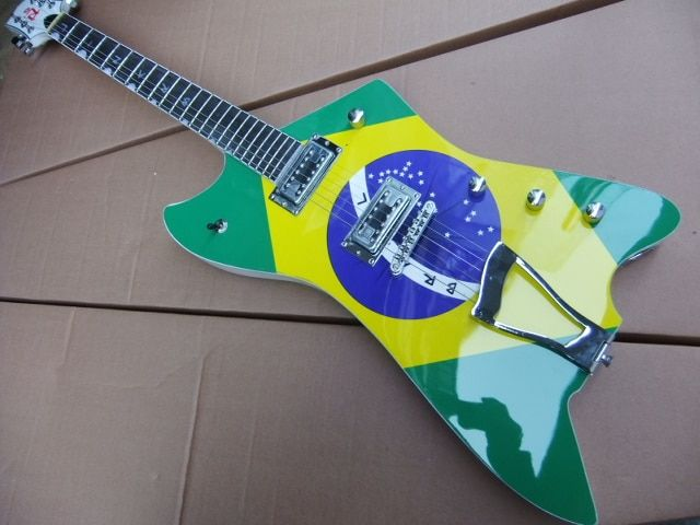 Wholesale Customize Explorer Electric Guitar With Brazilian Flag In Green 110302