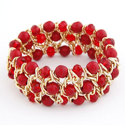 Korean Fashion Neon Colors Three Layers Chunky Stone Crystal Beads Stretch Bracelet For Women Pulseira Jewelry Bijoux