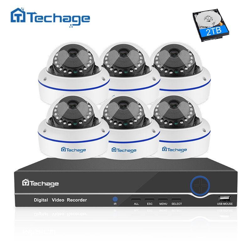 Techage 8CH 1080P POE NVR CCTV System 6PCS Vandalproof Anti-vandal Dome Indoor IP Camera Onvif Security Surveillance System