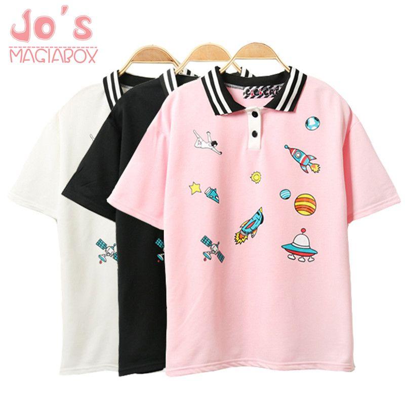 Mignon rose Harajuku imprimé T-shirt Kawaii dessin animé Tee hauts dames mode personnage Kawaii mignon T-shirt femmes vêtements