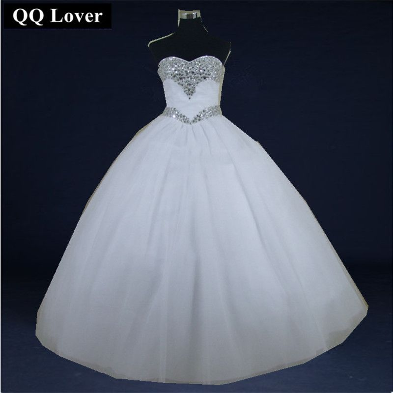 QQ Lover 2018 Luxury Crystal Tulle Ball Gown Wedding Dresses Sparkly Rhinestones Pleated Princess