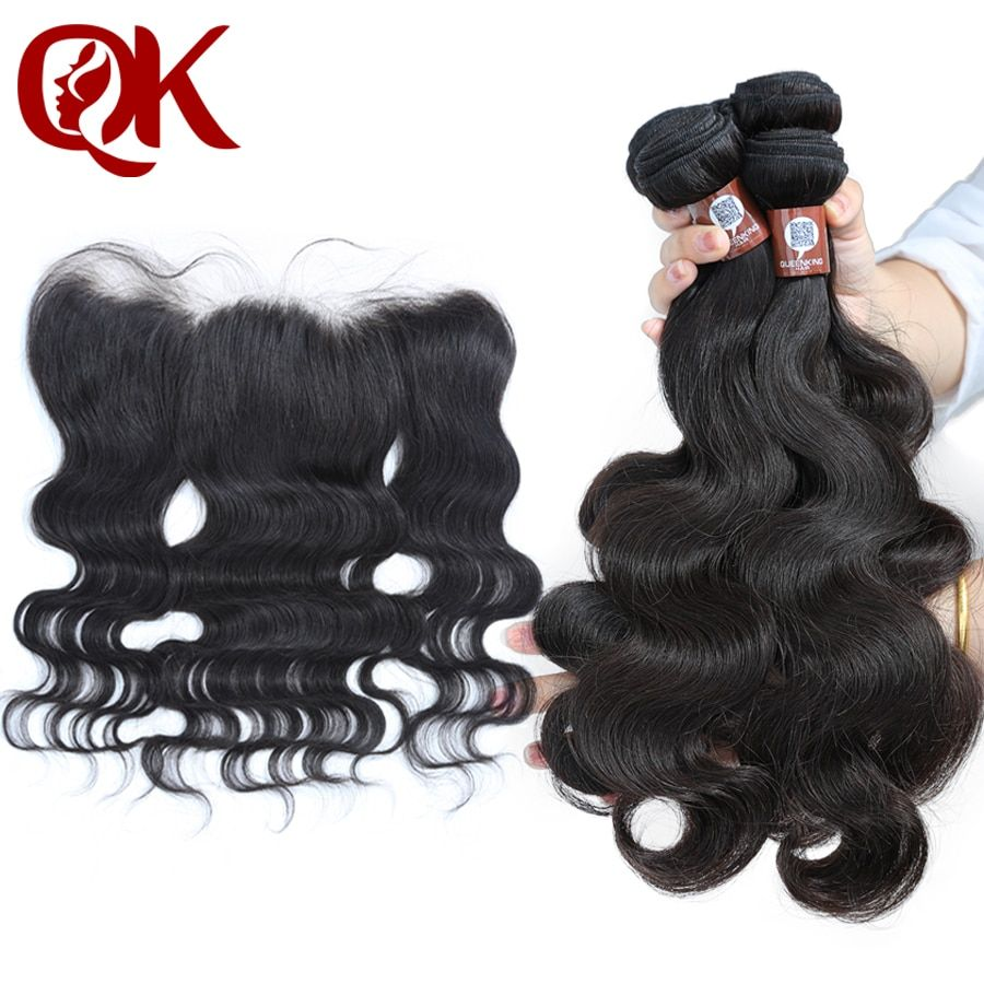 QueenKing Human Hair Bundles With Closure Remy Brazilian Body Wave 3Bundles and Lace Frontal 13x4 Pre-Plucked Hair Line