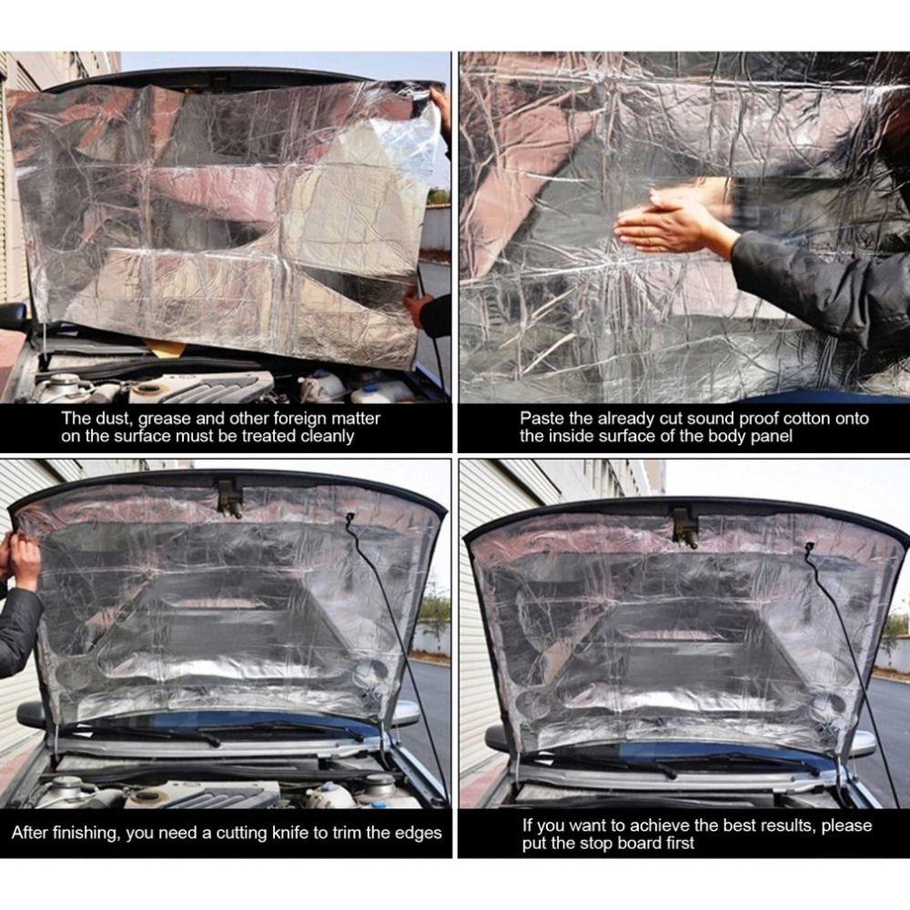 Автомобиль-Стайлинг капот автомобиля Двигатели для автомобиля брандмауэр тепла Коврики Deadener звукоизоляции мертвящей Алюминий Фольга Стик...