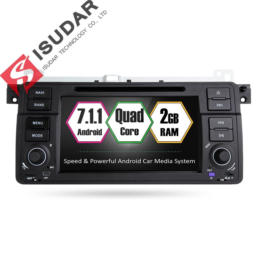 Isudar Car Multimedia player Android 7.1.1 GPS 1 Din DVD Automotivo For BMW/E46/M3/MG/ZT/Rover 75 Wifi Radio FM 2 Core 16GB DSP