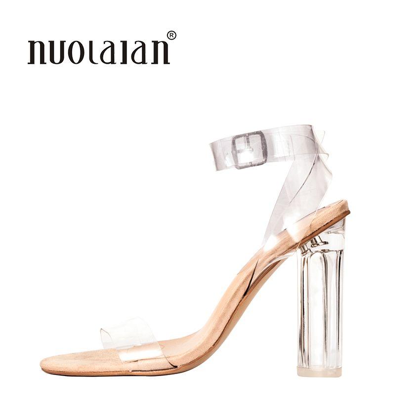 2018 Date Femmes Pompes Celebrity Port Simple Style PVC Clair Transparent Lanières Boucle Sandales Talons hauts Chaussures Femme