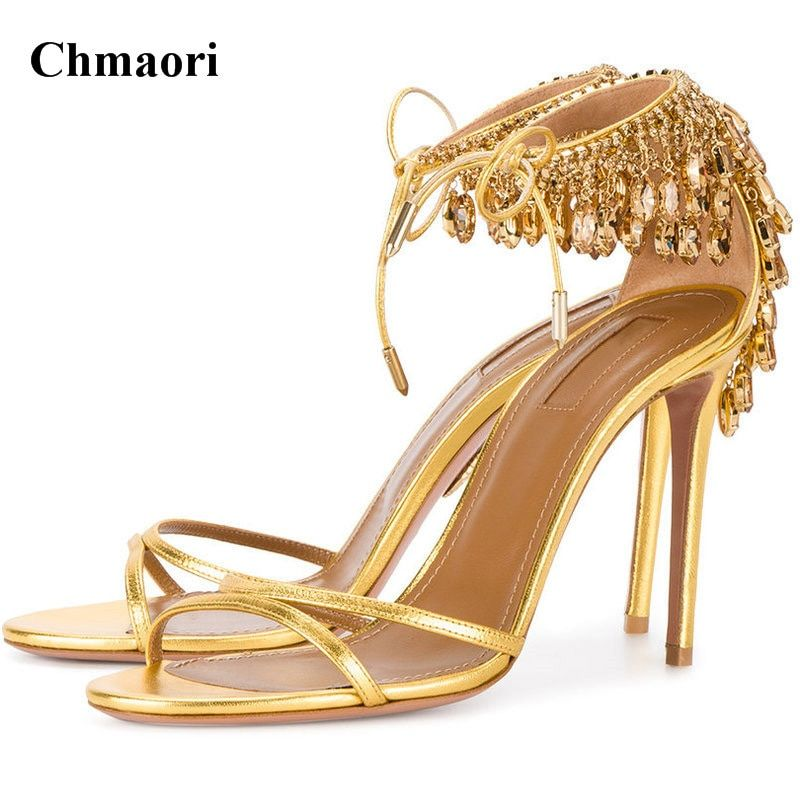 Women Charming Open Toe Strap Cross Diamond Rhinestone Sandals Lace-up Gold Nude Green Crystal High Heel Sandals Wedding Shoes