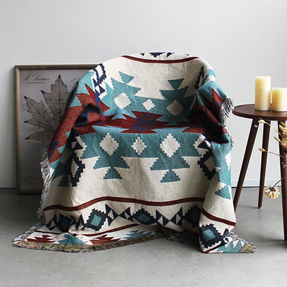 ESSIE HOME Kilim Carpet For Sofa Living Room Bedroom Rug Yarn Dyed 130*160cm Bedspread Tapestry