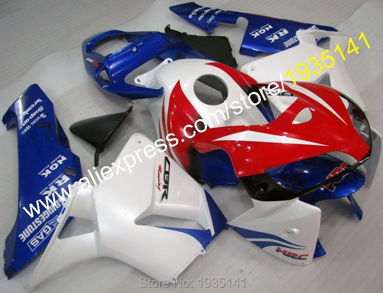 Hot Sales,For Honda CBR600RR F5 2005 2006 Parts CBR 600 RR F5 05 06 Blue Red White Motorcycle Fairing Set (Injection molding)