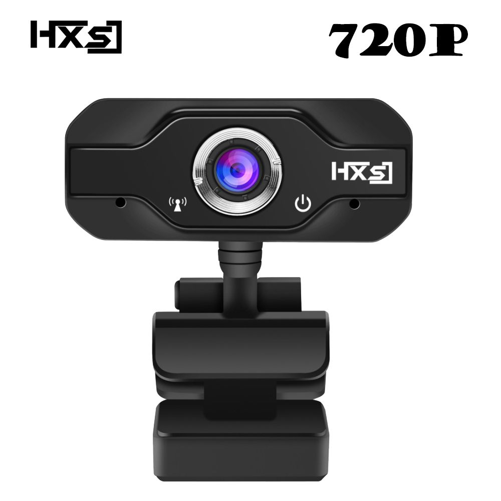 HXSJ 720P HD Webcam, InTeching USB Widescreen Computer Camera with Microphone for PC, Desktop or Laptop 360 degree rotation