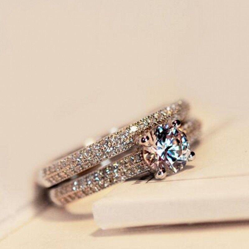 Сона CZ Diamant Обручальные кольца 925 стерлингов Серебряные кольца для Для женщин обручальное Кольца обещание Кольца Свадебные украшения 4-10
