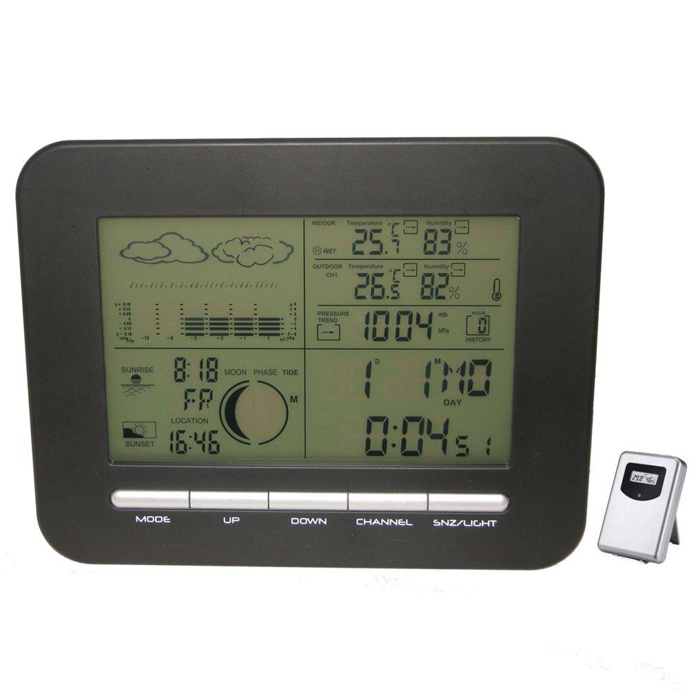 Numérique Table Double Alarme Horloge Baromètre Station Météo w/Thermomètre Intérieur Hygromètre Sans Fil En Plein Air Température Humidité