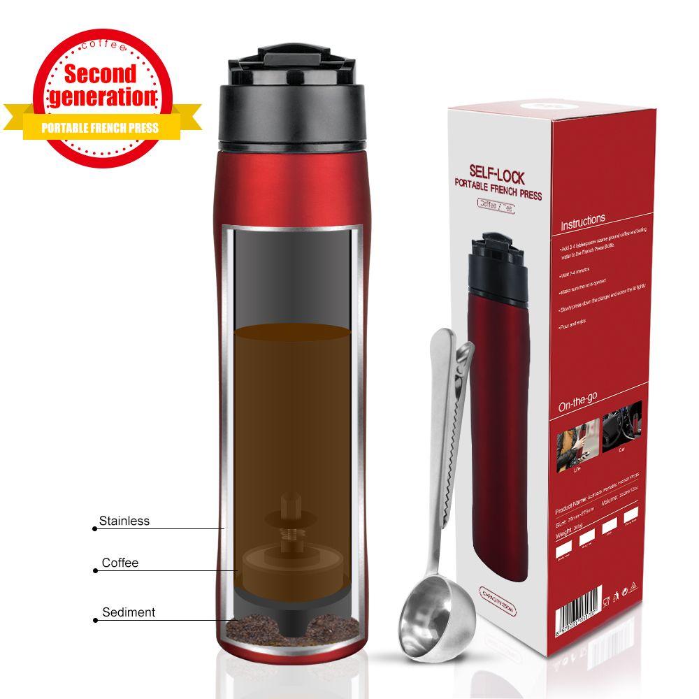 Presse à café portative en acier inoxydable de presse française de 350 ML Tarvel avec le filtre de piston de café Double Pot de tasse de vide de mur
