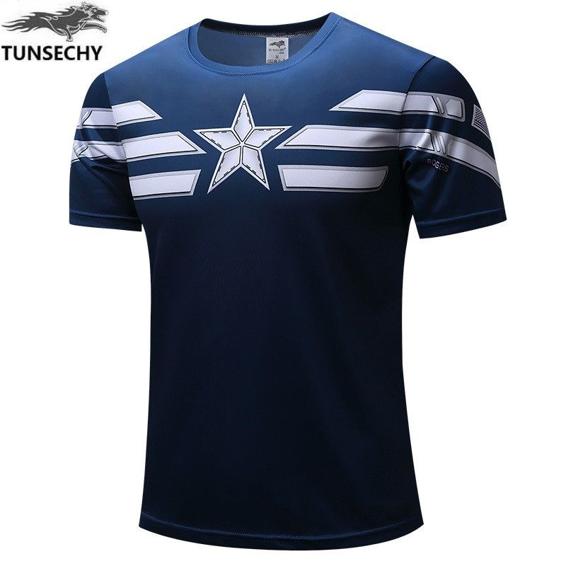 NEW 2017 TUNSECHY Marvel Captain America 2 Super Hero lycra compression tights T shirt Men fitness clothing short sleeves S-4XL