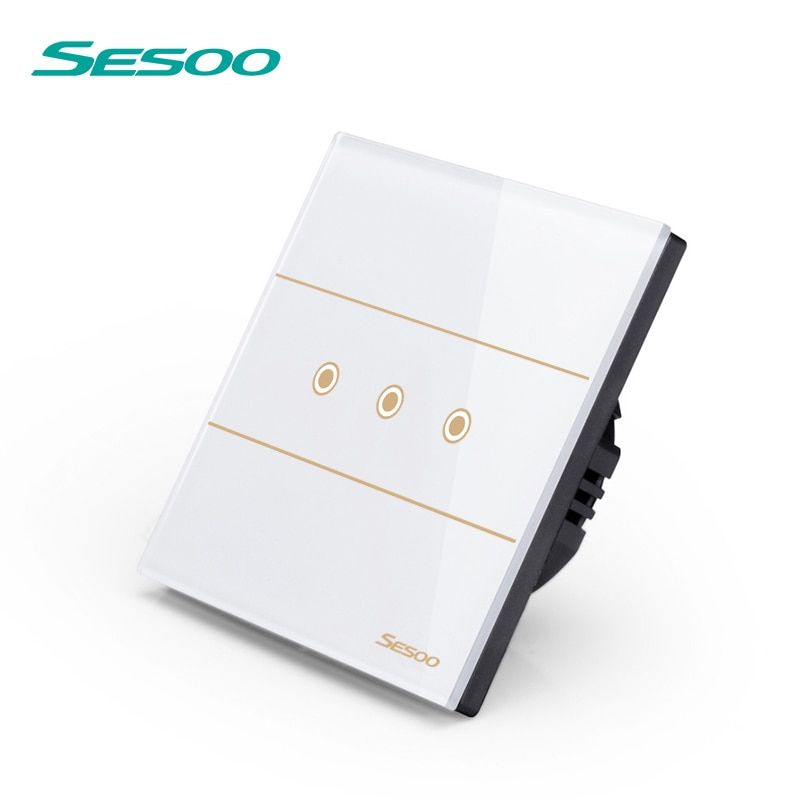 SESOO Remote Control Switches 3 Gang 1 Way, SY5-03 White, Wall Touch Switch,Crystal Glass Switch Panel