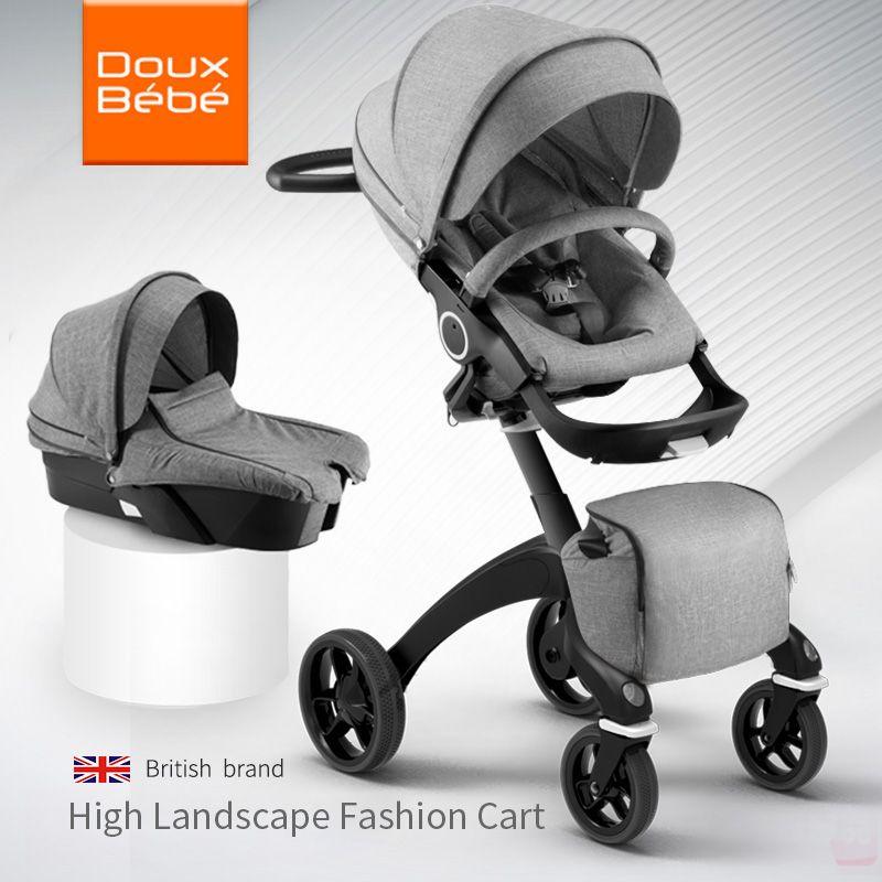 Doux Bebe Hohe Landschaft Tragbare Baby Wagen Klapp Kinderwagen Für Neugeborene Travel System Vier Räder Kinderwagen