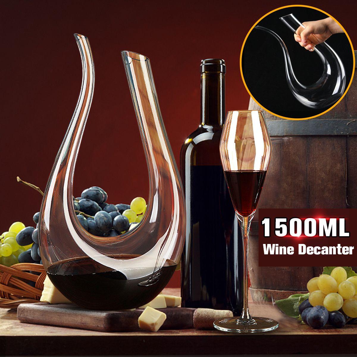 1500ml Crystal Glass Horn Red Big Wine Decanter Brandy Pourer Jug Wine Container Water Bottle Drinking Glasses Carafe Bar Set