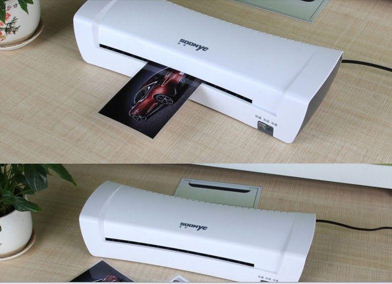 Weiß A4 Foto Laminator Office Hot & Cold Thermische Laminiermaschine Professionelle Für A4 Document Foto PET Film Roll-Laminator