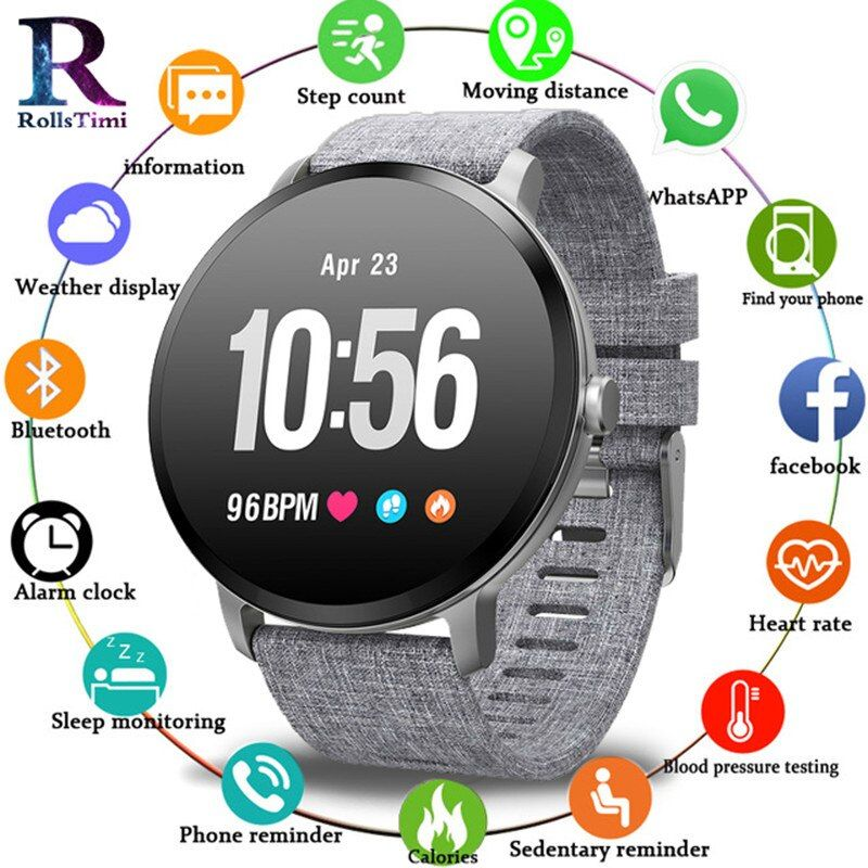 RollsTimi Hot V11 Smart Watch Men Women Waterproof Tempered Glass Activity Fitness Tracker Heart Rate Monitor Sports Smartwatch