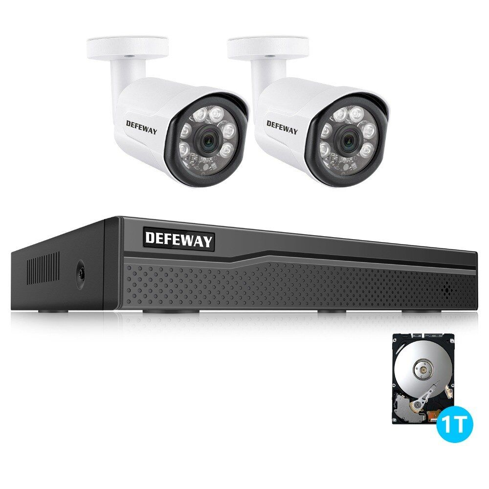 DEFEWAY Video Überwachung Kit 4CH NVR 1080 P POE CCTV System 2MP IP Kamera CCTV Außen Kamera 2 Kamera 1 TB HDD