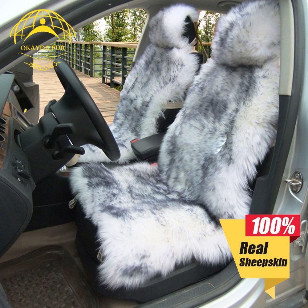 OKAYDA 100% Naturel de fourrure en peau de mouton Australien siège de voiture cover Long Cheveux universelle coussin protecteur de siège de voiture housse de siège de fourrure