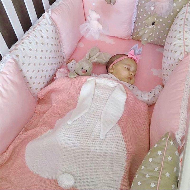 Nouveau-né bébé couvertures oreilles de lapin Crochet couverture Swaddle enfants literie couverture couette apaiser doux bébé Photo accessoires emmaillotage Wrap